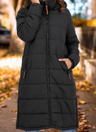 Long Sleeve Hooded Pockets Padded Coats (146672989)