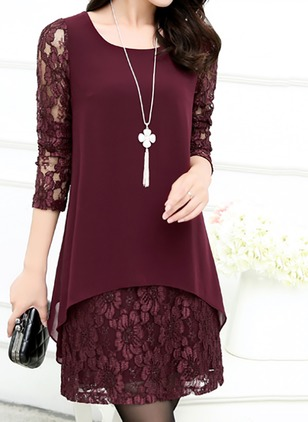 Polyester Solid Long Sleeve Above Knee Dresses