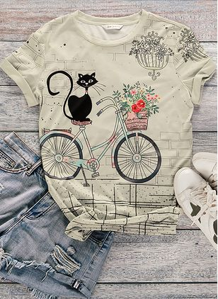 Animal Summer Round Neckline Short Sleeve Blouses (104534368)