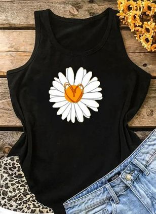 Floral Round Neck Sleeveless Casual T-shirts (4045444)