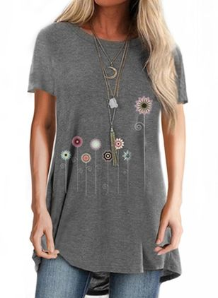 Floral Round Neck Short Sleeve Casual T-shirts (4864510)
