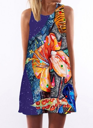 Floral Tank Sleeveless Mini Shift Dress