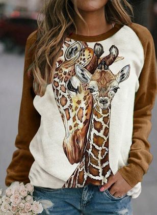 Animal Casual Round Neckline Sweatshirts (146796422)
