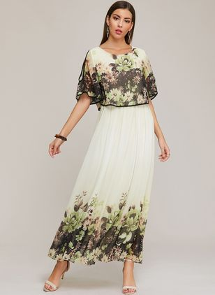 Casual Floral Round Neckline Maxi X-line Dress (1398916)