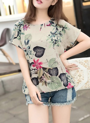 Floral Casual Linen Round Neckline Short Sleeve Blouses