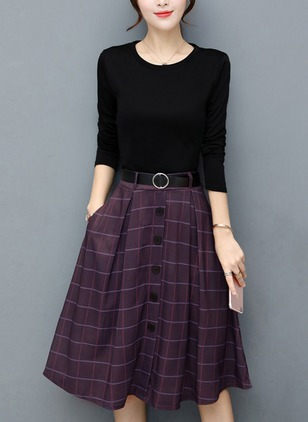 Polyester Plaid Long Sleeve Dresses