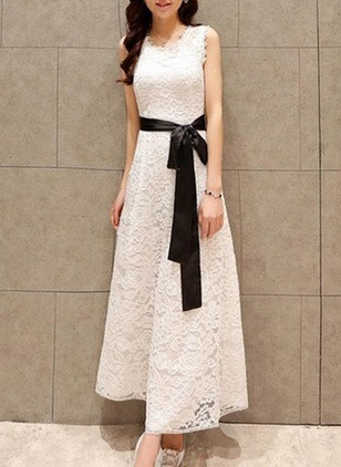 Solid Lace Sleeveless Maxi Shift Dress