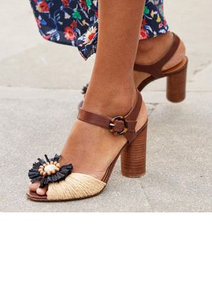Buckle Flower Peep Toe Chunky Heel Shoes