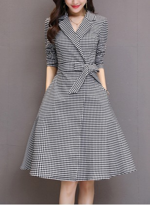 Cotton Blends Plaid Long Sleeve Knee-Length Dresses