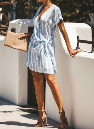 Stripe Tunic V-Neckline Above Knee Shift Dress