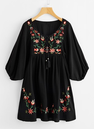 Floral Half Sleeve A-line Dress