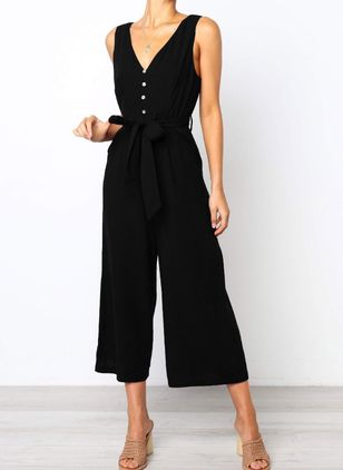 Plain Mouwloos Jumpsuits&Rompers