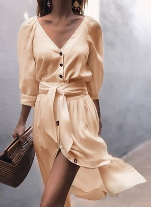 Solid Buttons Wrap Midi Shift Dress