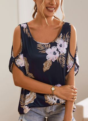Floral Casual Round Neckline Short Sleeve Blouses (4074398)