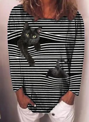 Animal Round Neck Long Sleeve Spring T-shirts (146643166)
