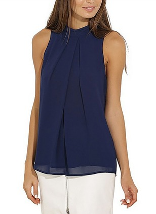 Solid Casual Polyester High Neckline Sleeveless Blouses