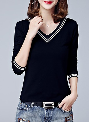 Stripe V-Neckline Long Sleeve Elegant T-shirts