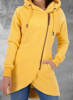 Long Sleeve Hooded Zipper Pockets Zip Up Coats (146846322)