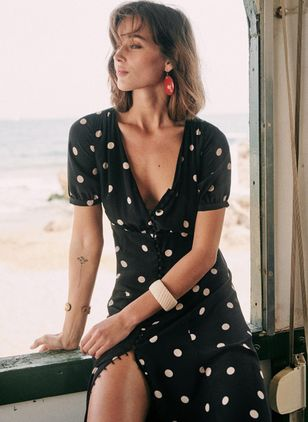 Polka Dot Buttons Short Sleeve Maxi X-line Dress