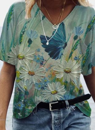 Floral V-Neckline Short Sleeve Casual T-shirts (146989981)