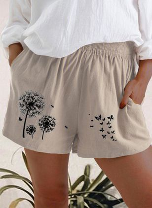 Casual Loose Pattern Pockets Mid Waist Linen Shorts (147156086)