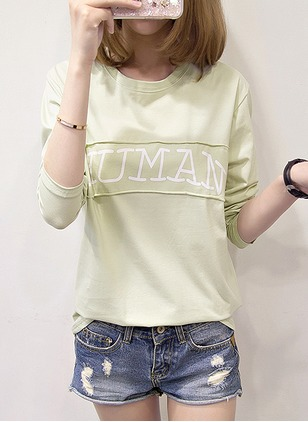 Cotton Polyester Alphabet Round Neck Long Sleeve Casual T-shirts