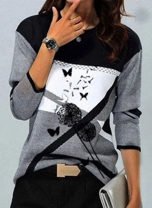 Floral Round Neck Long Sleeve Casual T-shirts (146957595)