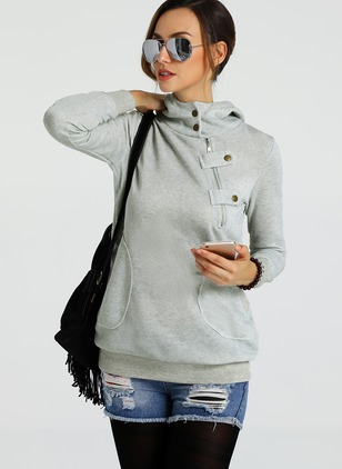 Solid Casual Cotton Hooded Pockets Sweatshirts