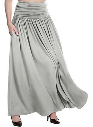 Solid Maxi Casual Pockets Skirts (100547309)