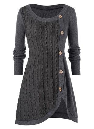 Casual Solid Sweater Round Neckline X-line Dress (116140411)