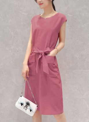 Solid Pockets Sleeveless Knee-Length Shift Dress