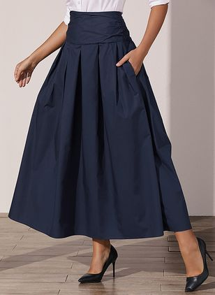 Solid Maxi Casual Pockets Skirts (1501201)
