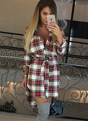 Cotton Blends Plaid Long Sleeve High Low Dresses