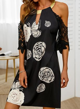 Casual Floral Tunic Halter Neckline A-line Dress (146859543)
