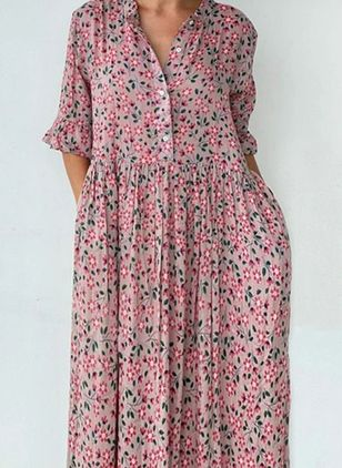 Casual Floral Tunic V-Neckline Shift Dress (146786956)