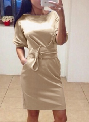 Solid Pockets Wrap Long Sleeve Bodycon Dress