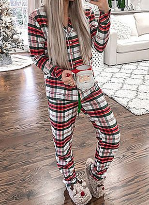 V-Neckline Plaid Pajamas (146747204)