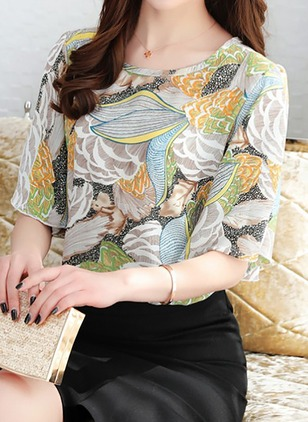 Chiffon Floral Round Neck Short Sleeve Casual T-shirts