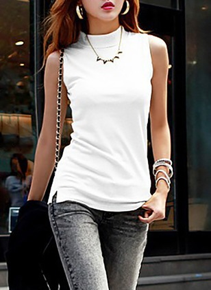 Cotton Solid High Neckline Sleeveless T-shirts