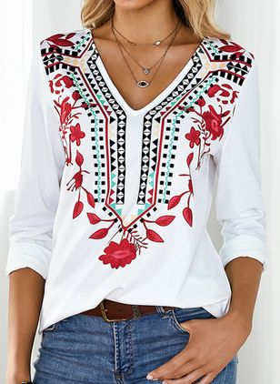 Floral V-Neckline Long Sleeve Casual T-shirts (4864517)