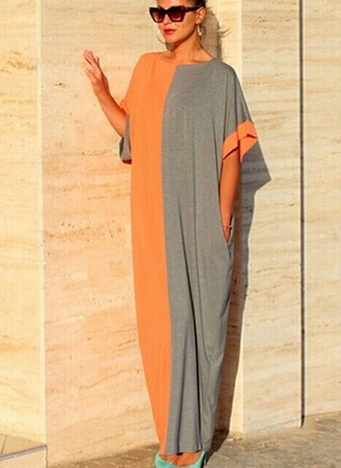 Cotton Color Block Short Sleeve Maxi Dress