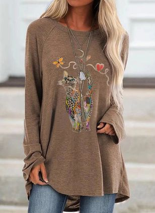 Animal Round Neck Long Sleeve Casual T-shirts (107562860)