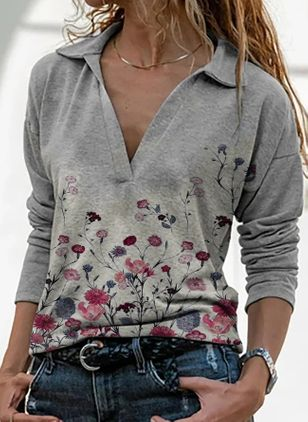 Floral Casual Collar Long Sleeve Blouses (146719285)