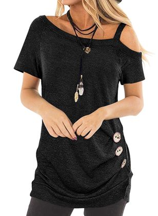 Solid Oblique Neckline Short Sleeve Casual T-shirts (146964398)