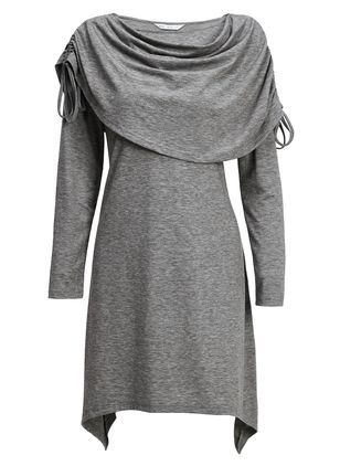 Casual Solid Tunic Draped Neckline A-line Dress (120649083)