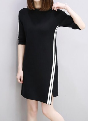 Color Block Half Sleeve Shift Dress