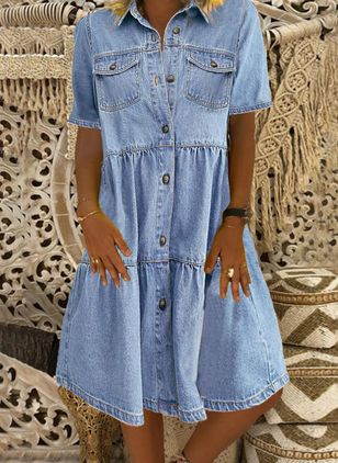 Shift Dress Collar Denim Dress (4044331)