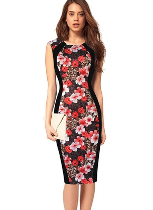 Cotton Polyester Floral Sleeveless Knee-Length Dresses