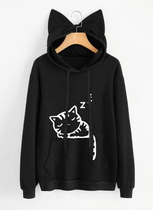 Animal Cute Cotton Hooded None Sweatshirts