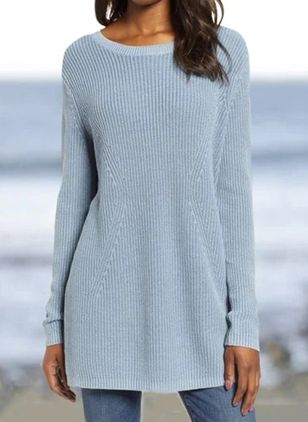 Round Neckline Solid Casual Loose Long Shift Sweaters (116140532)